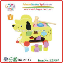 Wooden Educational Toy - Block Hund Cart Save