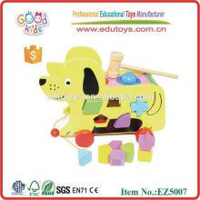 Brinquedo educativo de madeira - Carrinho de cachorro de bloco