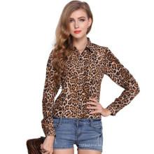 Blusa de la gasa de la gasa del estampado leopardo de la blusa de la manga larga del diseño de la moda 2017