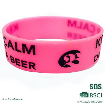 Bracelet personnalisé en silicone de caoutchouc de PVC de logo de Pinky