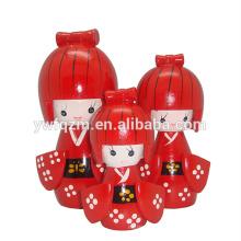 Ensemble de poupée japonaise en bois Kokeshi