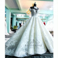 vestido de festa wedding dres super puffy 3D flowers deep v- neck sleeveless wedding gowns 2017