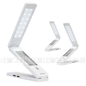 Touch Panel Portable & Foldable & Rechargeable LED Table Lamp with USB Hub and LCD Calendar (LTB763)