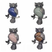 Antique Silver Owl Aloy Gemstone Crystal Pendant