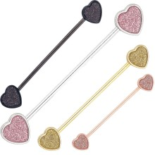 Sandblasted Heart Design Cartilage d'oreille Industrial Barbell