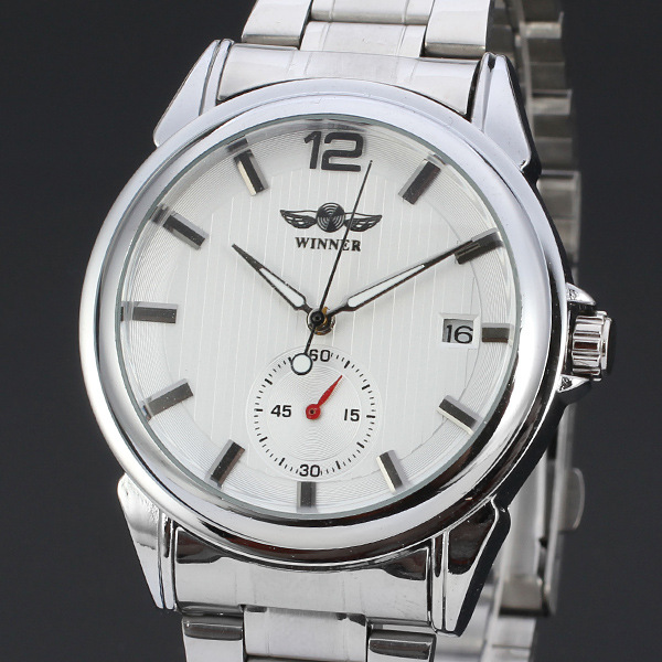 winner mininalist men watch with small dial date design watch stainless steel band