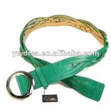 Women's PU Belt With Green PU, Alloy Accessories, Rhodium Plated, Rivets, Braided Leather