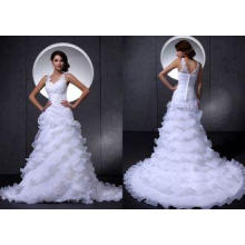 White V Neck Beaded Flowers Organza Wedding Dresses with Co