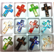 50*35mm Art Lampwork Glass cross Pendant