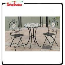 Outdoor Funitur Bistro Möbel mit Fliesen Dekoration