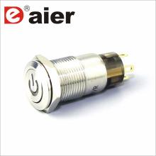 Botão liso de 12mm que trava o interruptor do botão da pressão do metal do logotipo do poder