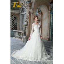 ED Bridal Hot Sale V Neck manga comprida Lace-up A linha de vestidos de casamento com laço Appliqued 2017