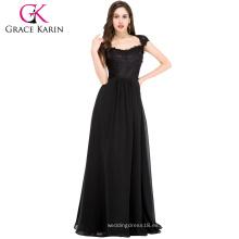 Grace Karin negro de encaje de la madre de largo largo de la novia se viste CL6127