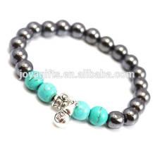 Bracelet de thérapie magnétique de nouvelle mode 2014 avec de petites perles argentées de calabash et de turquoise