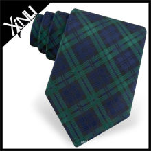 Green Checker Woven Silk Tie