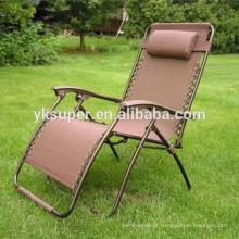 Cadeira de gravidade zero de luxo com apoio para os pés, cadeira de reclinação dobrável para exterior