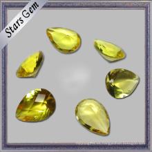 Pera de color amarillo brillante Corte bajo precio Cubic Zirconia CZ Stone
