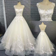 Hot design sexy sleeveless organza wedding dress