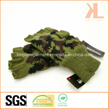 Army Acrylic Half Finger Olive Camouflage Knitted Gloves Thinsulate