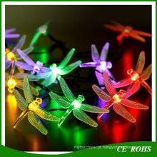 Árvore de natal decorativo luz de tira do diodo emissor de luz da libélula corda luzes colorido corda solar lâmpada 20LED / 30LED para Festival