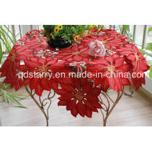 Red Fabric Xmas Table Cloth St1730