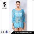 Top-Verkaufsprodukte 2016 Sommer Damen Quasten Spitze kurz Strickjacke Bluse in blauer Farbe Qualitätswahl