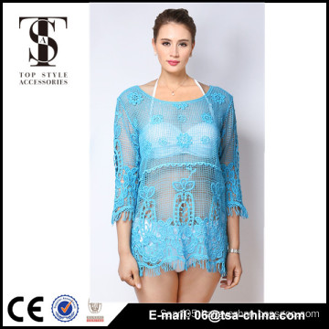 Top selling products 2016 Summer Ladies Tassels lace short Cardigan blouse in blue color                                                                         Quality Choice
