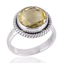 Round Shape Lemon Quartz Cut Gemstone 925 Sterling Silver Ring