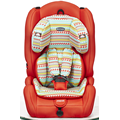 Baby car seat with orange-grey cover