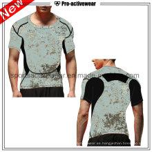 OEM competitivo precio por encargo de cuello redondo hombres ocasionales camisetas