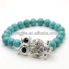 Türkis 8MM runde Perlen Stretch Edelstein Armband mit Diamante Legierung Eule Stück