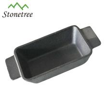 Mini poêle de rectangle en fonte à huile végétale avec double poignée / poêle à frire