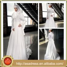 LB01 High Quality White Beading Muslim Wedding Gowns High Neck Long Sleeve Wedding Dress Muslim vestidos de noivas 2015