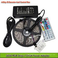 Venta caliente SMD 5050 Flexible Impermeable RGB LED Luz de Tira con IR 44 Llaves Kit de Control Remoto