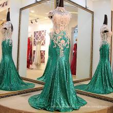 LS67741 Sequins dress for johor bahru lace ladies african kitenge designs islamic aqua green evening dress