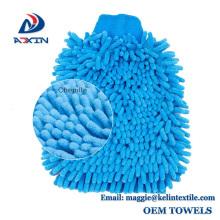 Uso lateral de microfibra chenille coche lavado casa limpieza guantes de lavado
