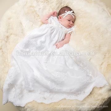 Белое Винтажное очарование кружева Измельчитель длинные крестины Фея платье Сутаж крещение платье девочка платье узоры