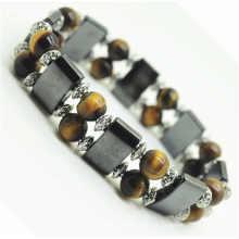 8MM Perles rondes Stretch Gemstone space Bracelet avec alliage et hématite