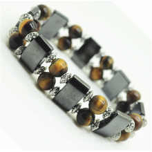 8MM Round Beads esticar Gemstone espaço pulseira com liga e hematita