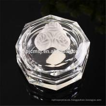 Joyero de cristal K9 con cristal rosa, caja de joyas de forma octogonal cryatal
