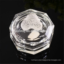 K9 crystal jewelry box with crystal rose,octagon shape cryatal jewelry box
