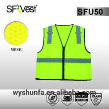 Chaleco de seguridad de alta visibilidad Chaleco de seguridad reflectante de motocicleta de la correa de la visibilidad alta hola tela 100% del poliester de la ropa vis