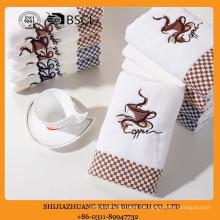 billige Werbung benutzerdefinierte bestickt Kaffee-Ebene gefärbt Dobby weiße Baumwolle Küchentuch