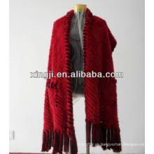 Chal de piel de visón de punto color rojo / negro para mujer