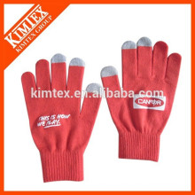 Acrylic tricotado personalizar guantes inteligentes texto pantalla táctil