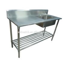 Fregadero de cocina de Australia Commercial Catering con mesa de trabajo, cocina de acero inoxidable 1 fregadero de un compartimiento con Drainer