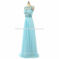 Frauen ärmelloses Abend langes Kleid 2017 Bodenlangen schwere Perlen Prom Kleid Graduierung Großhandel