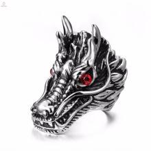 Popular personalizado em aço inoxidável mens prata gravado anéis de dragão