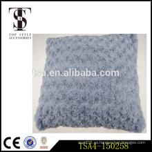 Textiles para el hogar tejido de lino y piel falsa viaje almohada decorativa