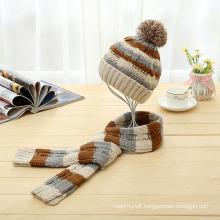 Kids Baby Unisex Children Boys Girls 2PC Winter Cable Twist Beanie Scarf Scarf Hat Set Scarf (SK412S)